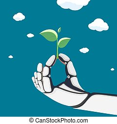 Robotic arm or an astronaut in a spacesuit keeps plant with leaves.