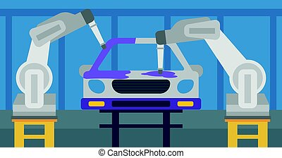 Robotic arm painting car in a production line.