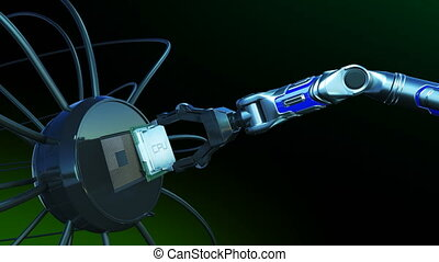 Robotic Arm Placing CPU on Futuristic Circuit Board with Green Signals. 3d Animation Motherboard with CPU and Flares. Technology and Digital Concept. 4k Ultra HD