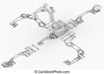 Robotic arm plan with 3d model on top