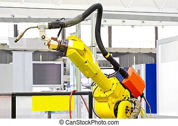 Robotic arm welder - Close up shot of welder robotic arm
