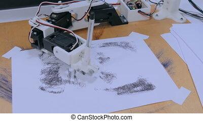 Robotic arm with black pen drawing portrait at robot...