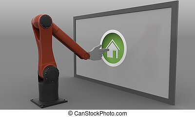 Robotic arm with cursor clicking round Home button. Real estate market automations concept. 3D rendering