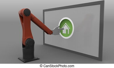 Robotic arm with cursor clicking round Home button. Real...