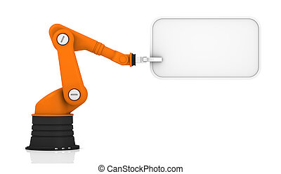 Robotic arm with tag - Robotic arm holding white tag