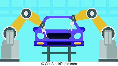 Robotic arm working on a conveyor for assembly of cars. Robotic arm welding car in a production line. Robotic arm assembling car in assembly shop. Vector flat design illustration. Horizontal layout.