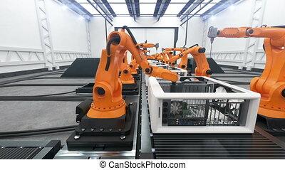 Robotic Arms Assembling Computers On Conveyor Belt. Modern...