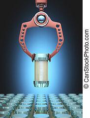 Robotic Choosing - Claw robotics choosing a bottle among...