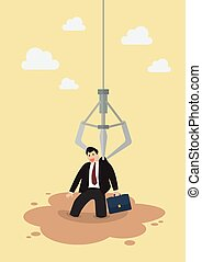 Robotic claw clutching a businessman from a quicksand. Investment risk concept