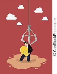 Robotic claw clutching a businessman who has an idea from a quicksand. Business idea concept
