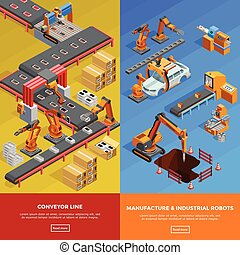 Robotic Conveyor Line 2 Isometric Banners - Manufacture...