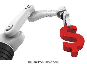 robotic, dolar, ręka, dzierżawa, znak