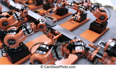 Robotic Factory assembling 3d printer on conveyor belt.