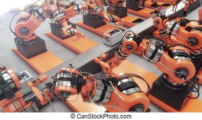 Robotic Factory assembling 3d printer on conveyor belt. 4k...