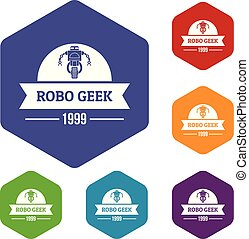 Robotic geek icons vector hexahedron