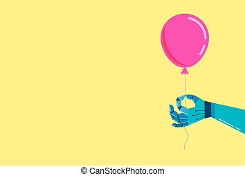 Robotic hand background with a pink balloon