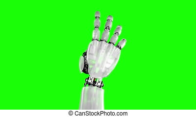 Robotic Hand Giving Thumbs Up on a Black and Green...