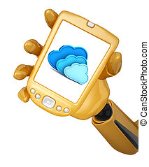 robotic hand hold a mobile phone with 3d cloud computing icon
