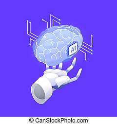 Robotic hand holding brain. Artificial intelligence, smart robot, conscious machine, innovative technology, hi tech innovation, scientific research in cybernetics. Modern colored vector illustration.
