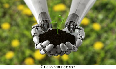 Robotic Hand Holds Soil with Time Lapse Growing Plant on a ...