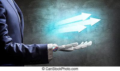 Robotic hand in suit shows purposeful arrows. 3d rendering.