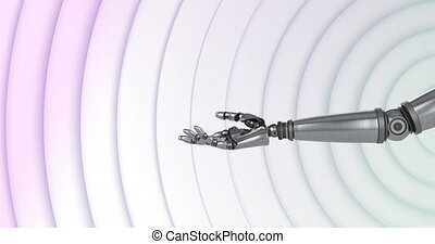 Animation of robot hand moving and turning with rows of white circles pulsating in seamless loop in the background. Movement and abstract concept digital composite.