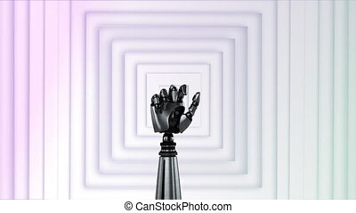 Animation of robot hand moving and turning with rows of white squares pulsating in seamless loop in the background. Movement and abstract concept digital composite.