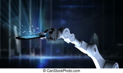 Digitally generated video of robotic hand presenting illuminated mobile phone with mathematics icon