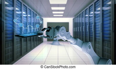 Robotic hand presenting mobile phone with cloud computing icons against server room background