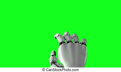 Robotic Hand Presses His Finger on a White and Green Backgrounds. Beautiful 3d animation with a pass of depth of field. 4K