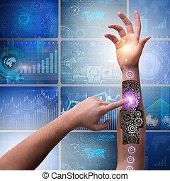 Robotic hand pressing button in futuristic concept