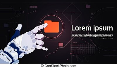 Robotic Hand Touch File Folder Button On Digital Screen Banner With Copy Space
