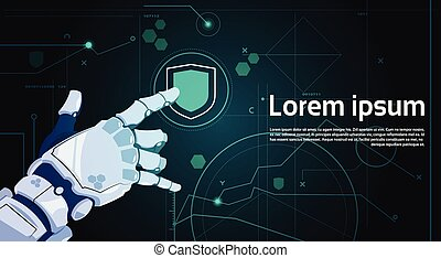 Robotic Hand Touch Shield Button On Digital Screen Data Protection Concept Banner With Copy Space