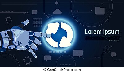 Robotic Hand Touch System Update Button On Digital Screen Modern Technology Banner With Copy Space