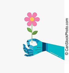 Robotic hand with a flower, vector background