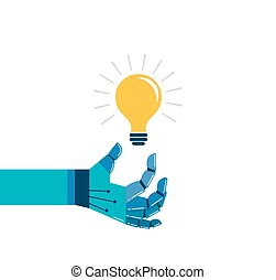 Robotic hand with a light bulb, idea and innovation concept