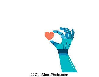 Robotic hand with a red heart, emotional intelligence concept