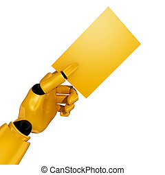 Robotic hand with Blank Business Card, add your text. ...