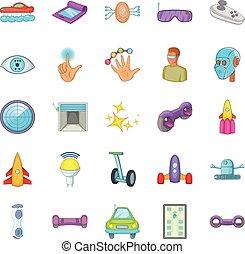 Robotic icons set, cartoon style