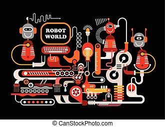 Robotic Manufacturing Vector Illustration - Robot World....