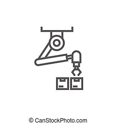 Robotic packaging line icon.