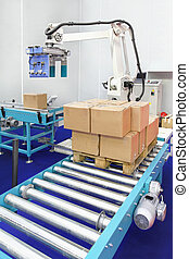 Robotic palletizer - Automated robotic palletizer for boxes...