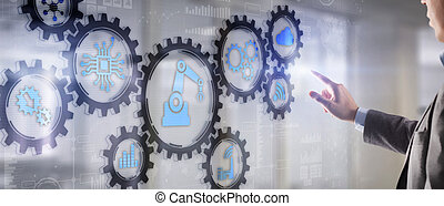 Robotic process automation concept on virtual screen