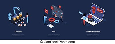 Robotic Process Automation Conceptual Composition Of Three Different Illustrations In Cartoon 3D Style. Isometric Vector Art With People And Objects, Machine Working Process And Computer Settings