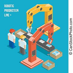 Robotic production line. Manufacturing and machine, ...
