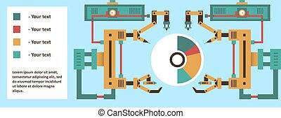 robotic, rendszer, haladó technology, értesülés, graphics., a, termelés, process., jövő, development., számítógép, elektronika, megtáviratoz, robot fegyver, lézer, tentacles., vektor, ábra