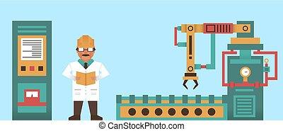 robotic, rendszer, haladó technology, értesülés, graphics., konstruál, egyetemi tanár, -ban, work., a, termelés, process., jövő, development., számítógép, elektronika, megtáviratoz, robot fegyver, lézer, tentacles.