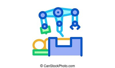 robotic surgeon and patient o table Icon Animation. color robotic surgeon and patient o table animated icon on white background
