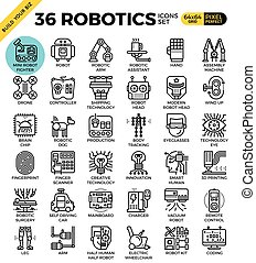 Robotic technology outline icons modern style for website or...