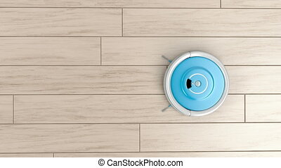 Robotic vacuum cleaner - Cleaning the floor with robotic...